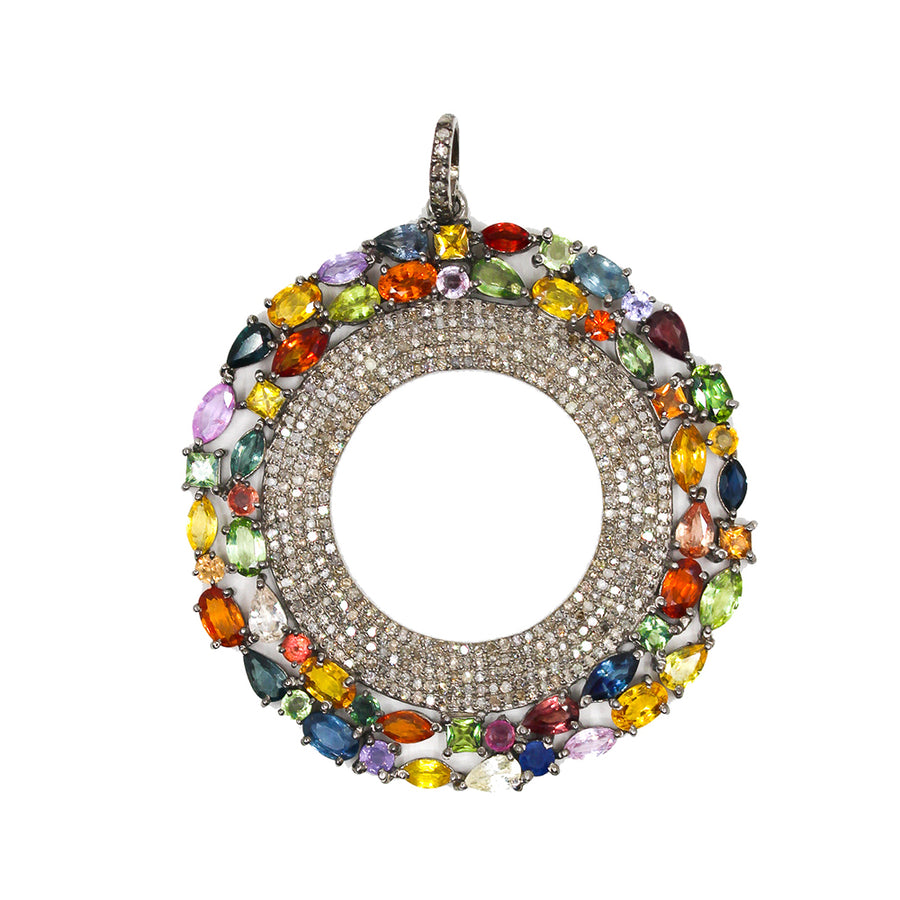 Sterling Silver Multi Sapphire Pendant - Monisha Melwani Jewelry