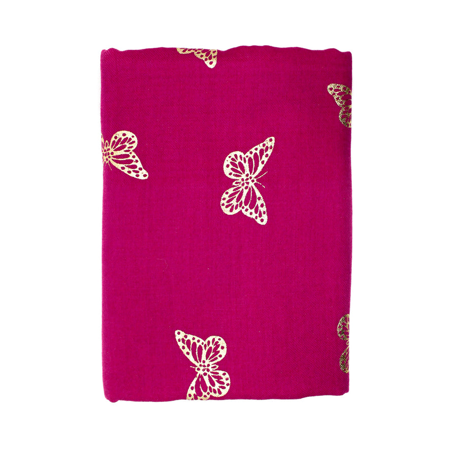 Butterfly Hot Pink Pashmina Shawl - Monisha Melwani Jewelry - MIY