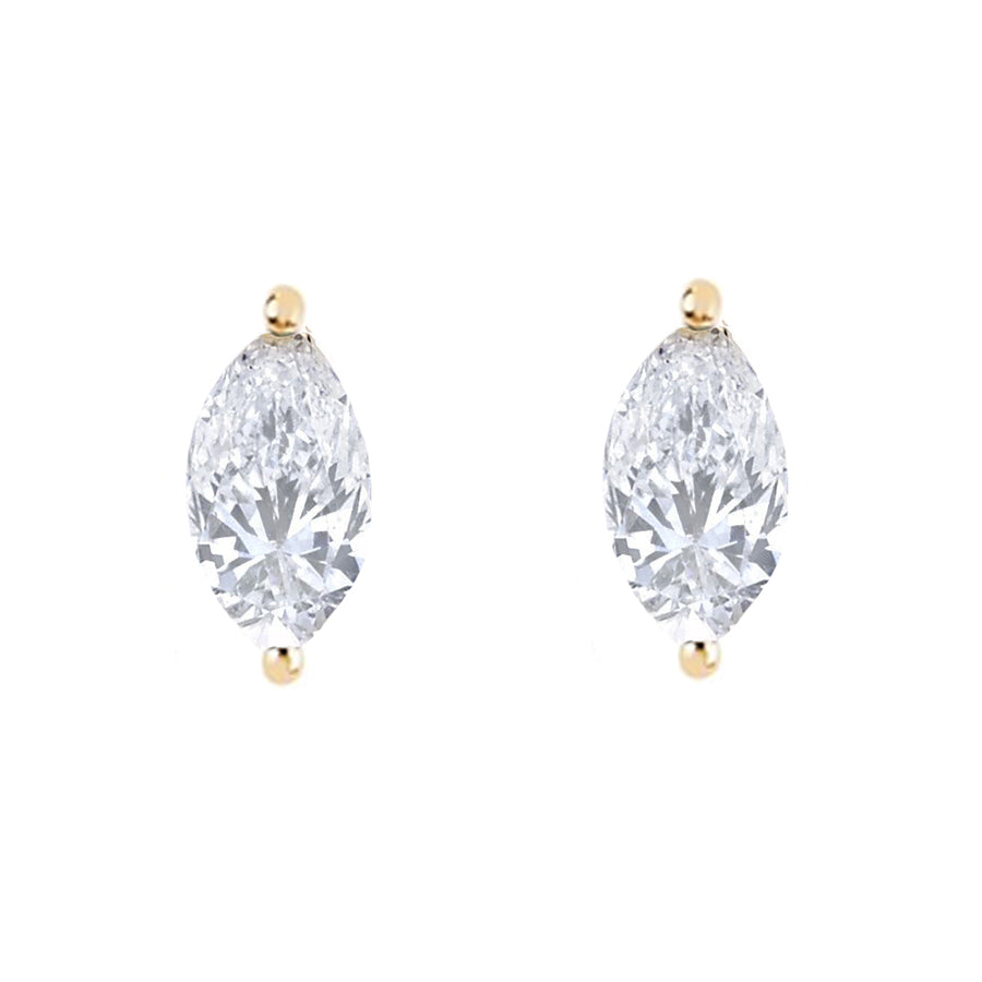 Diamond Marquise Stud - 14KT Gold - Monisha Melwani Jewelry