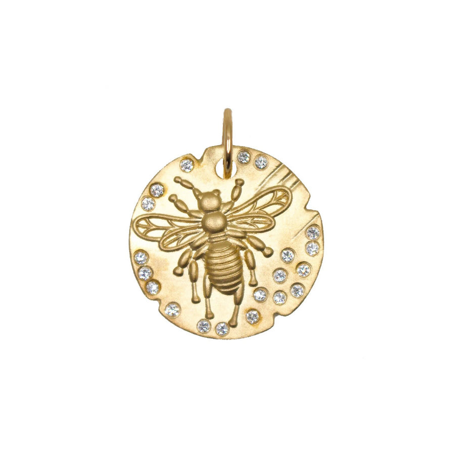 Gold Bumble Bee Coin Pendant