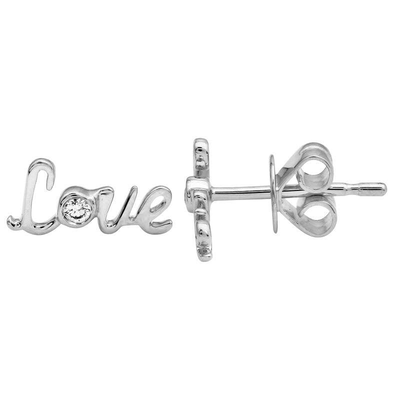 Gold Diamond Script Love Earrings