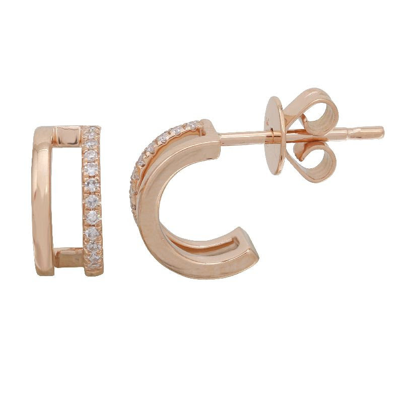 Gold Double Line Diamond Cage Earrings