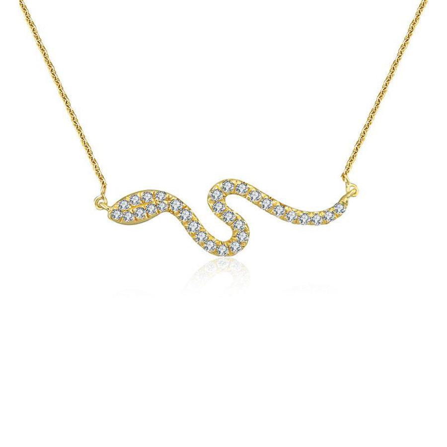 18K Gold Snake Diamond Necklace - Monisha Melwani Jewelry
