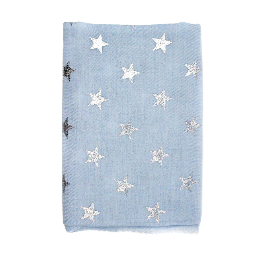 Light Blue Star Pashmina Shawl - Monisha Melwani Jewelry - MIY
