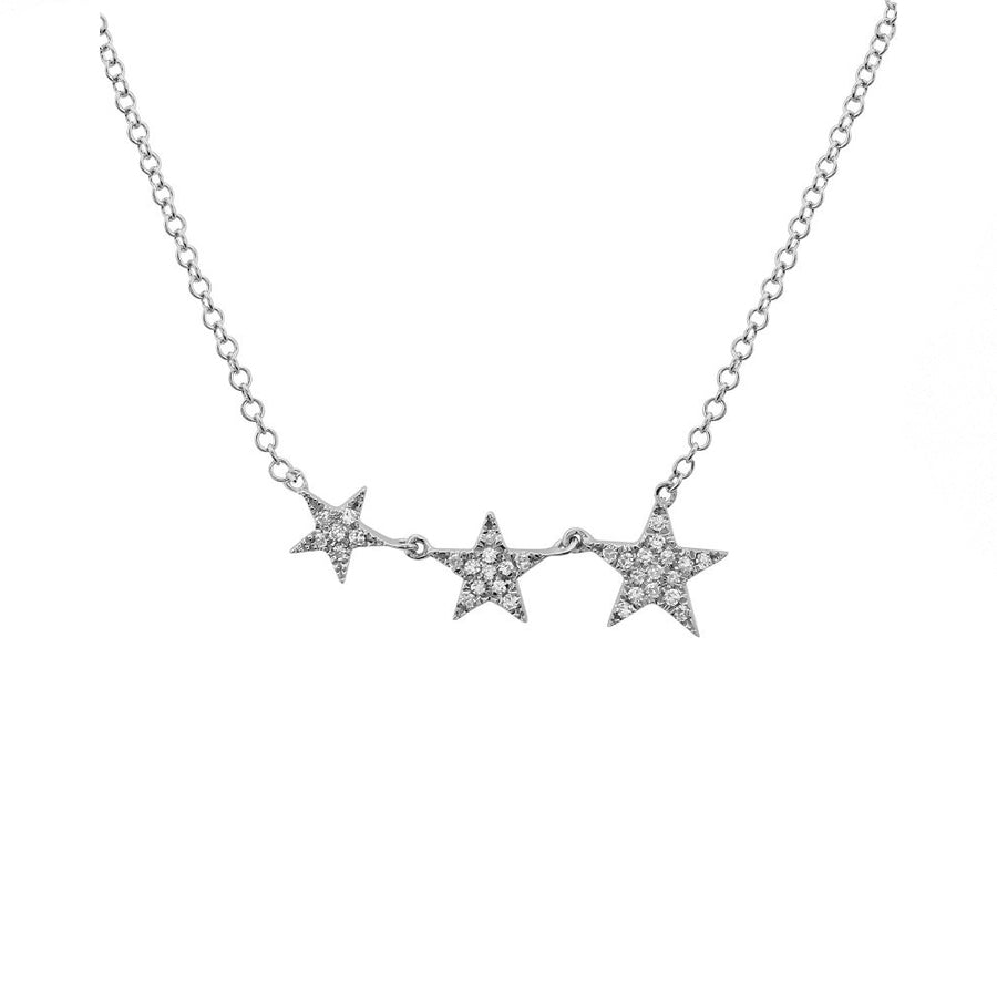 Gold Diamond Three Star Necklace - White Gold - Monisha Melwani Jewelry