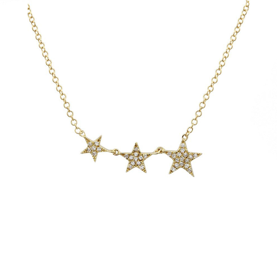 Gold Diamond Three Star Necklace - Yellow Gold - Monisha Melwani Jewelry