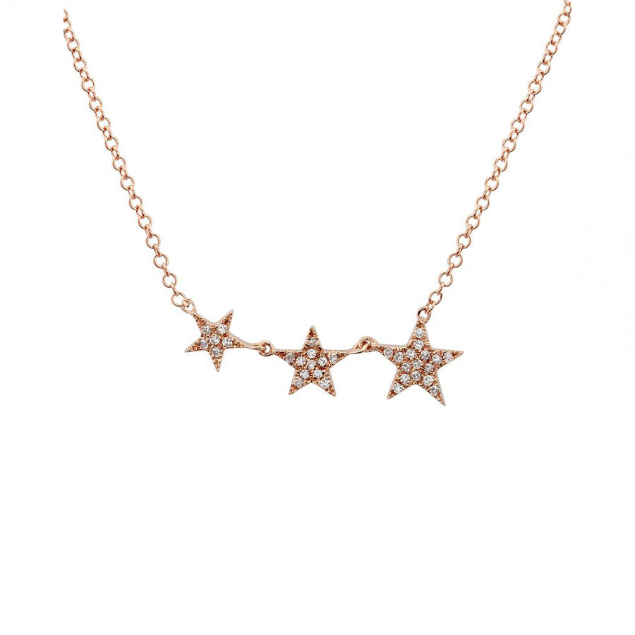 Gold Diamond Three Star Necklace - Rose Gold - Monisha Melwani Jewelry