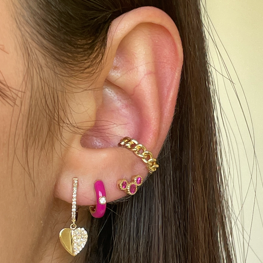 Gold Ruby Bezel Curve Climber Earring