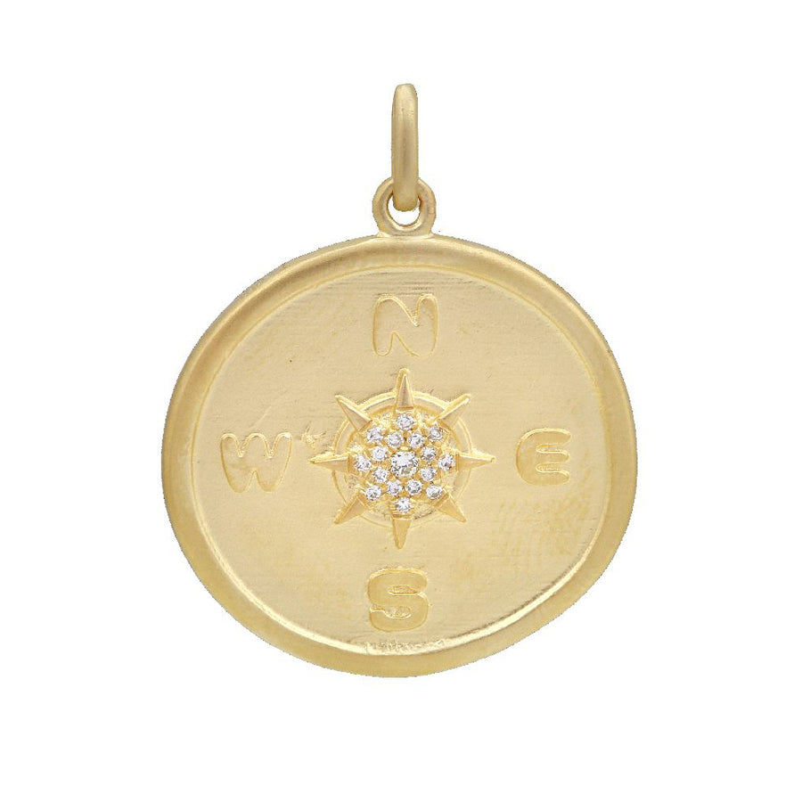 Gold Diamond Compass Pendant