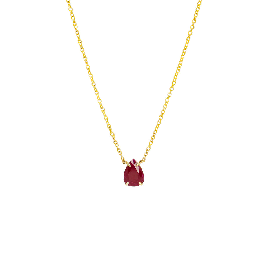 Red Ruby Teardrop Prong Necklace - 14KT Gold - Monisha Melwani Jewelry