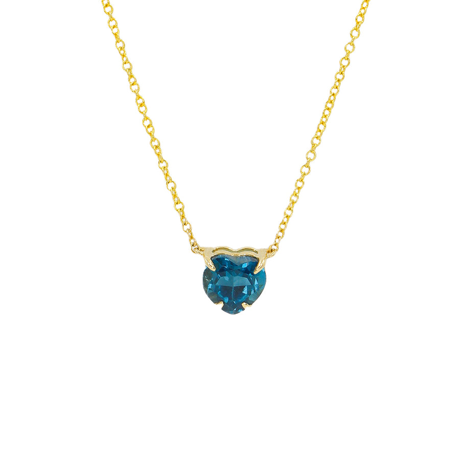 Blue Topaz Heart Prong Necklace