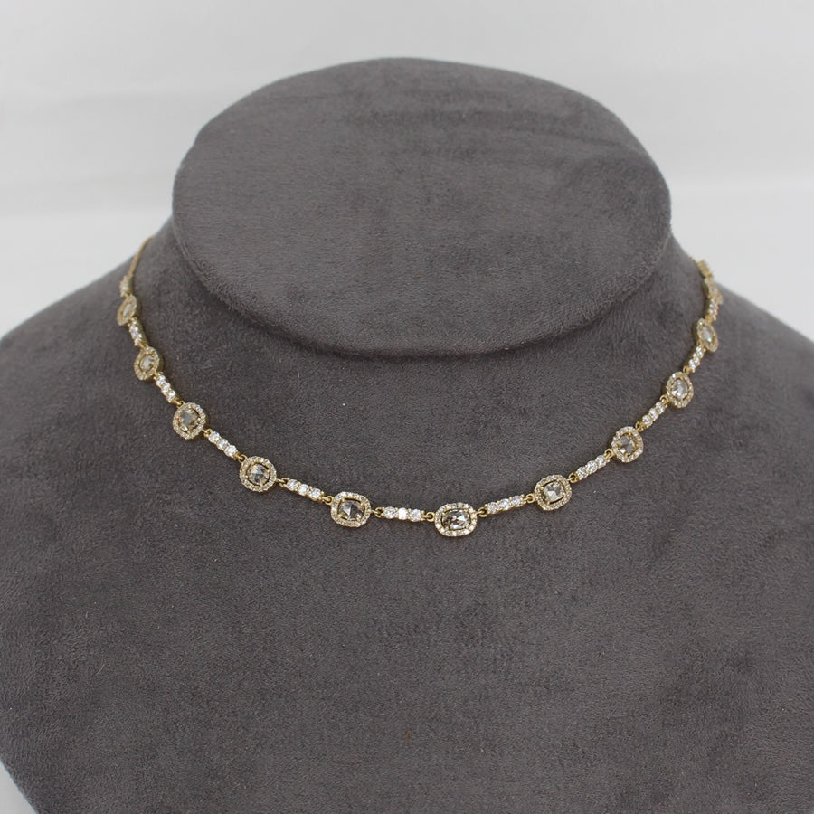 Gold Sliced Diamond Necklace - 14KT Gold - Monisha Melwani Jewelry