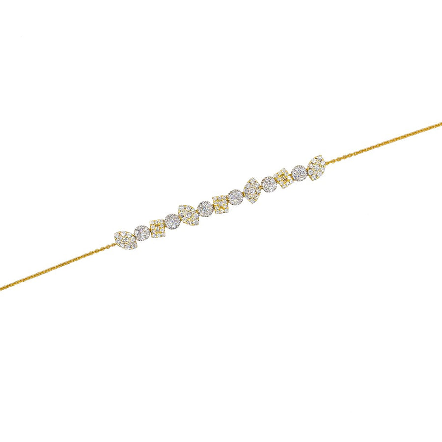 Gold Multi Shape Diamond Bracelet - 18KT Gold - Monisha Melwani Jewelry