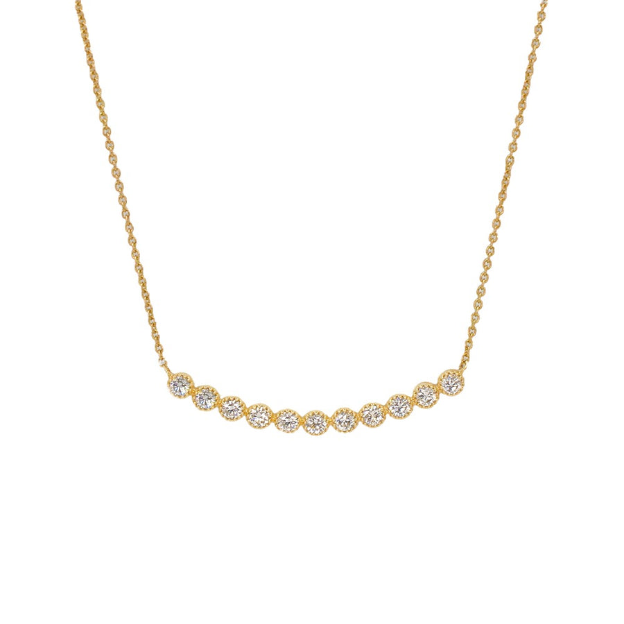 Gold Multi Diamond Bezel Necklace - 14kT Gold - Monisha Melwani Jewelry