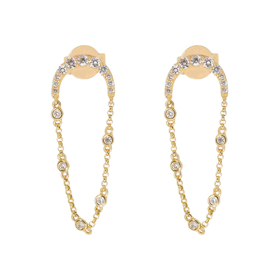 Diamond Half Moon Chain Bezel Earrings - 14KT Gold - Monisha Melwani Jewelry