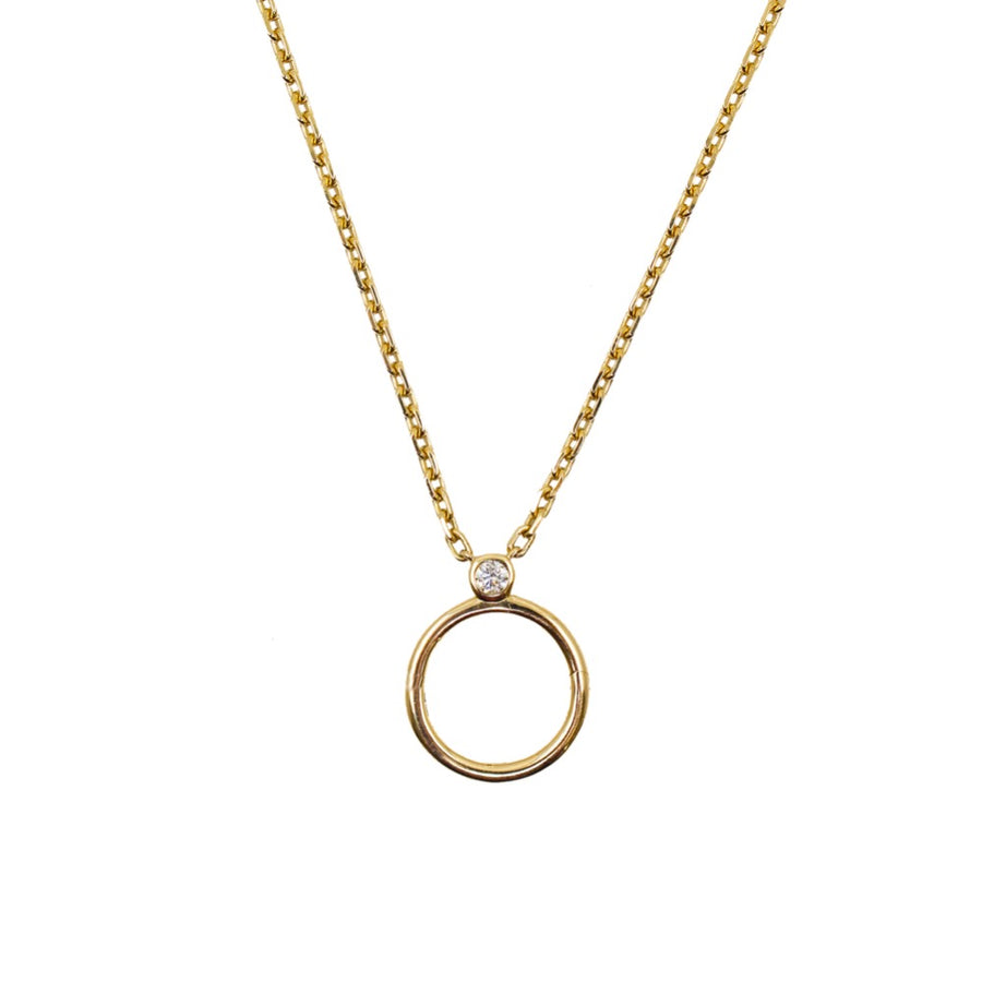 Gold Round Clasp Diamond Bezel Necklace - 14KT Gold - Monisha Melwani Jewelry
