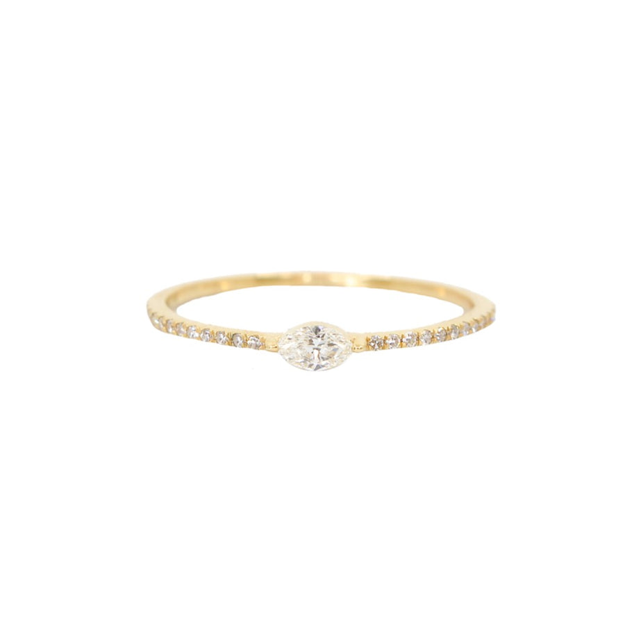Gold Marquise Stacking Ring - 14KT Gold - Monisha Melwani Jewelry