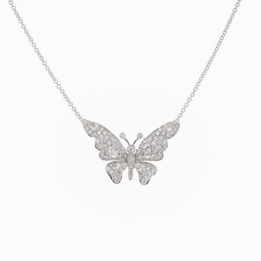 18KT White Gold Diamond Butterfly Necklace- Monisha Melwani Jewelry