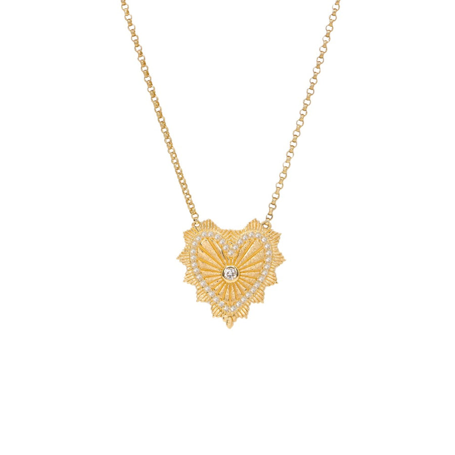 Gold Heart Medallion Necklace - 14KT Gold - Monisha Melwani Jewelry