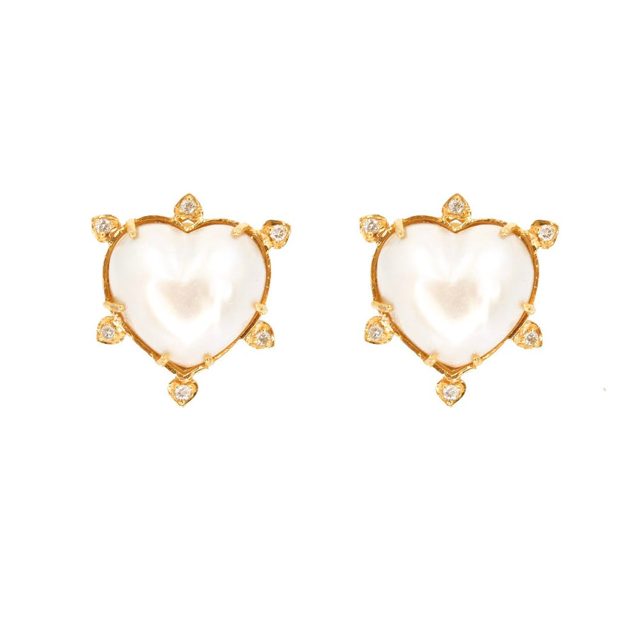14KT Yellow Gold Pearl Heart Earrings- Monisha Melwani Jewelry