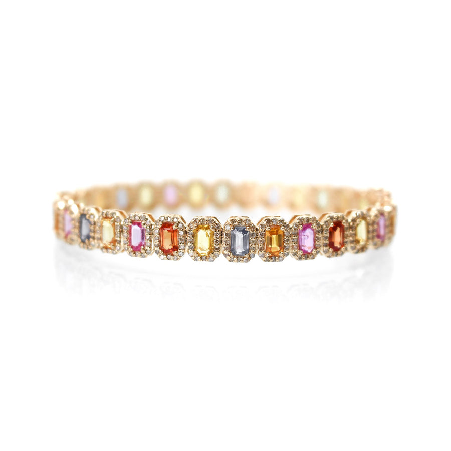 Gold Diamond Multi Sapphire Bangle - 14KT Gold - Monisha Melwani Jewelry