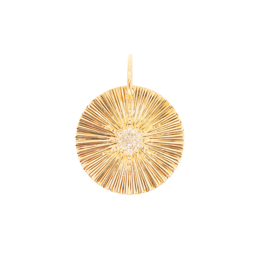 Gold Starburst Diamond Round Pendant - 14KT Gold - Monisha Melwani Jewelry