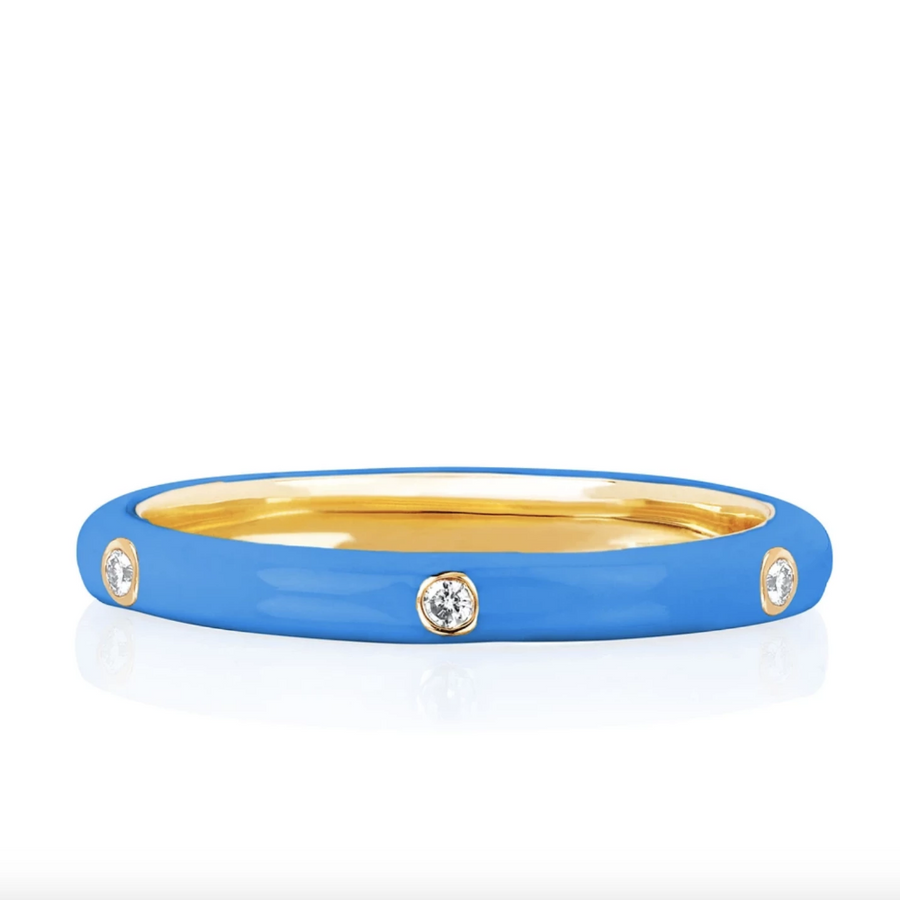 Diamond Blue Enamel Stacked Ring - EF Collection