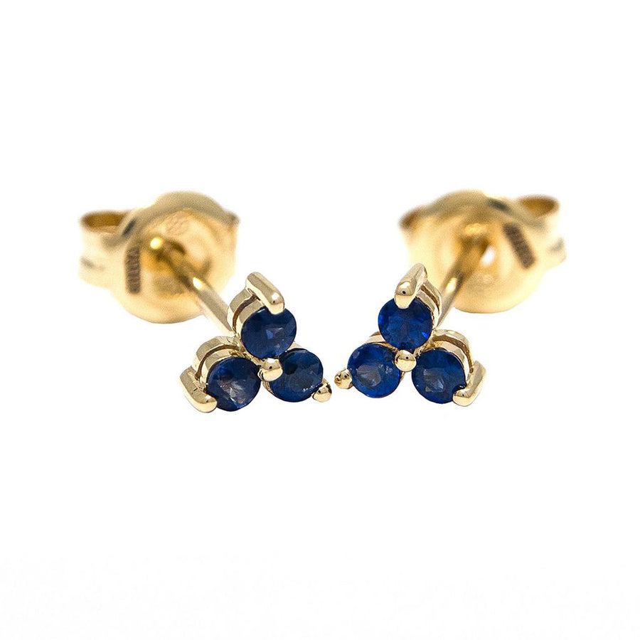 Yellow Gold Sapphire Trio Earrings - Monisha Melwani Jewelry