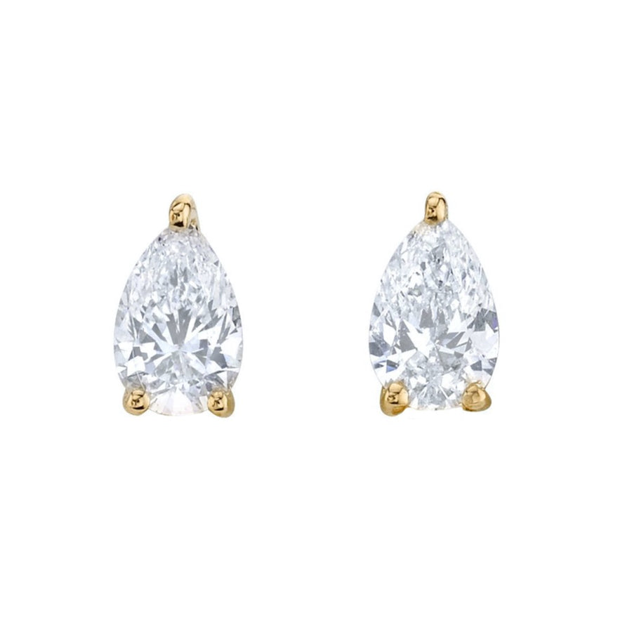 Diamond Pear Stud - 14KT Gold - Monisha Melwani Jewelry