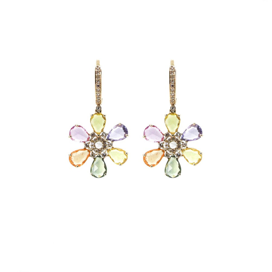 14KT Yellow Gold Diamond & Multi Sapphire Flower Hoop Drop Earrings- Monisha Melwani Jewelry