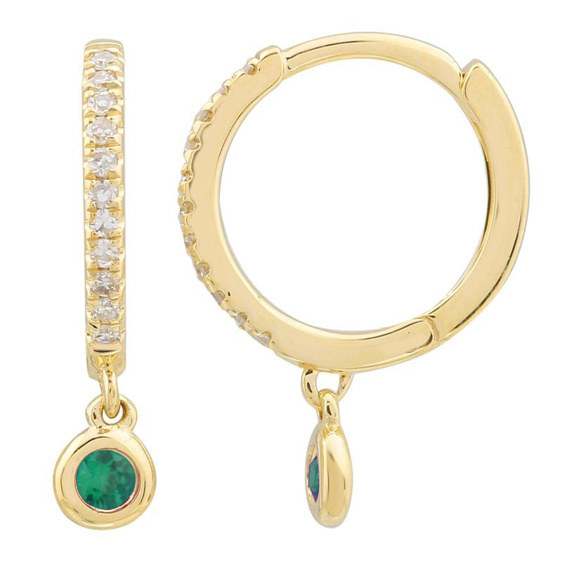 Gold Diamond Hoop and Emerald Bezel Drop