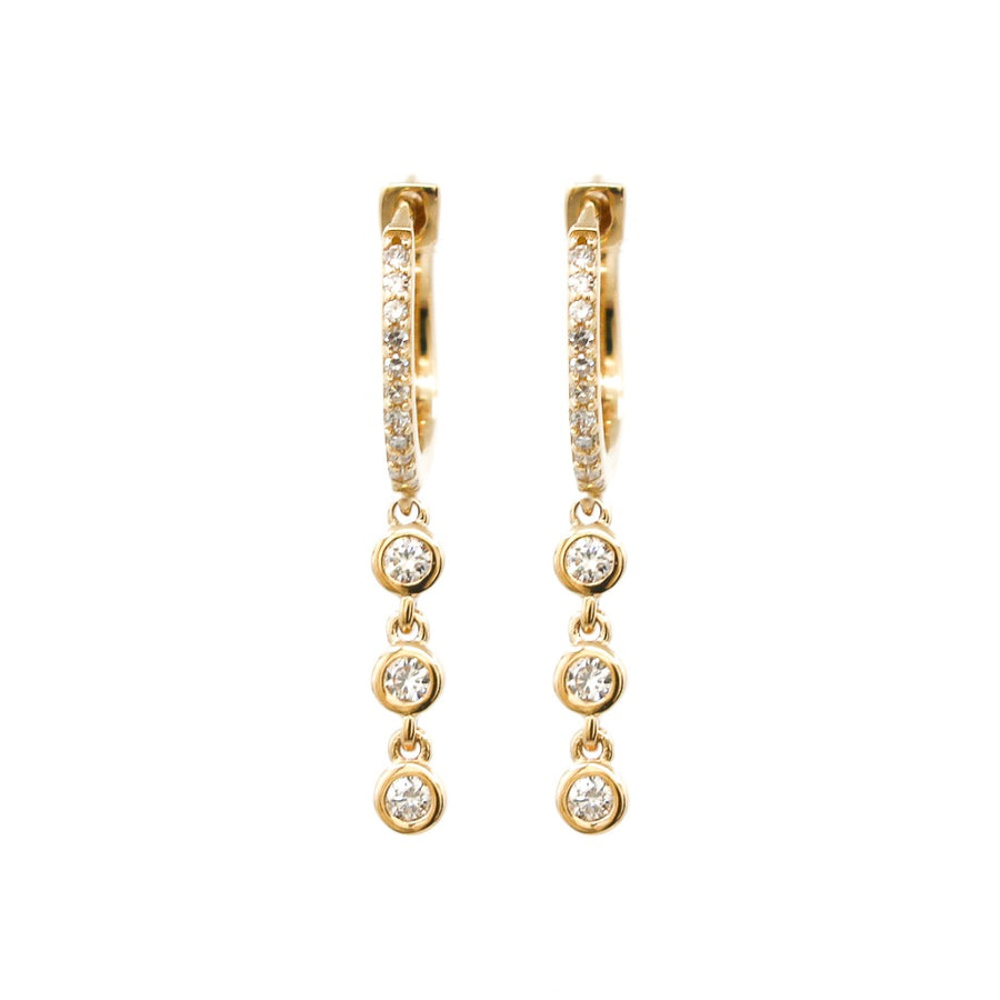 14KT Yellow Gold Diamond Triple Bezel Diamond Drop Hoops- Monisha Melwani Jewelry