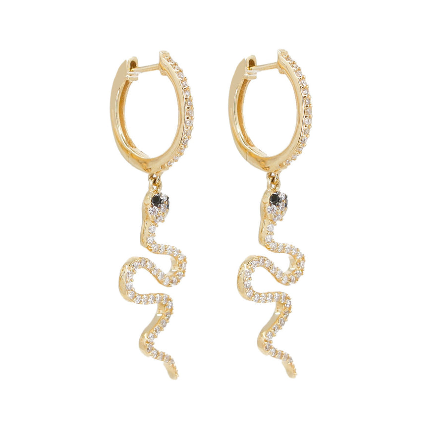 Gold Diamond Hoop Snake Drop Earrings