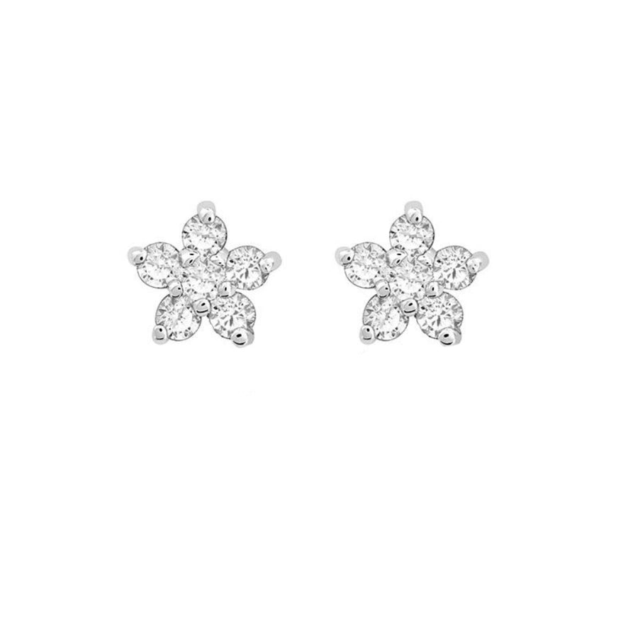 14KT White Gold Diamond Mini Flower Stud Earrings- Monisha Melwani Jewelry