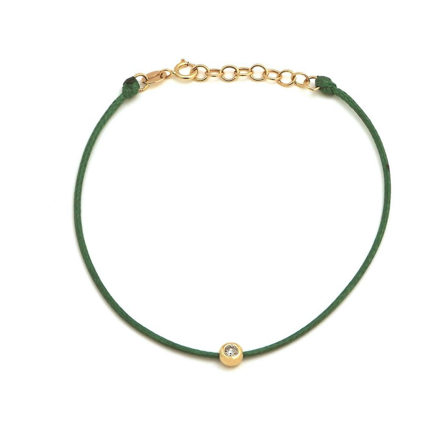 Gold Diamond Bezel Silk Bracelet - 14KT Gold - Monisha Melwani Jewelry