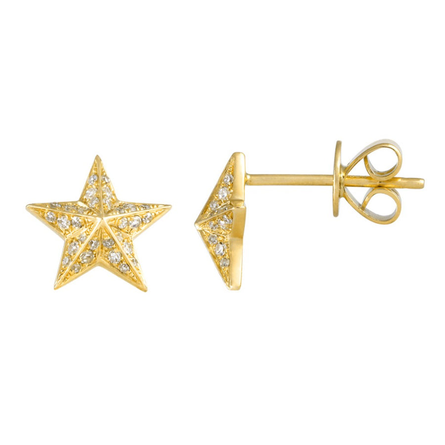 14KT Yellow Gold Diamond 3D Star Earrings- Monisha Melwani Jewelry