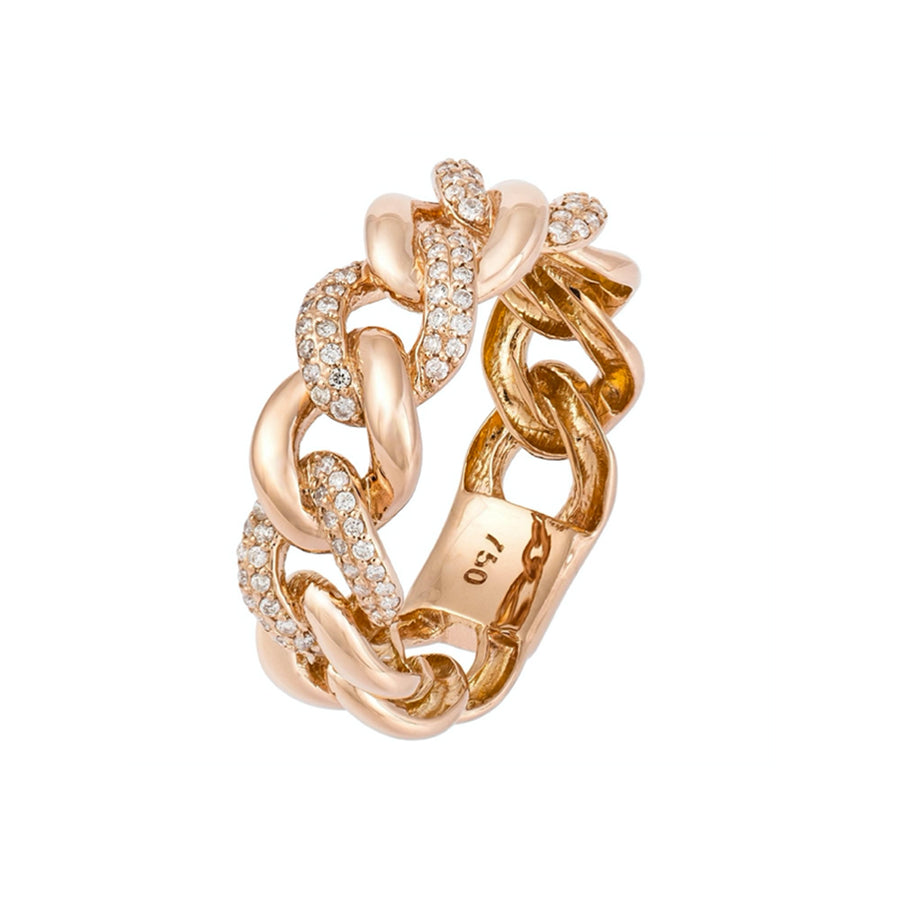 Gold and Diamond Mix Cuban Link Ring - 18KT Gold - Monisha Melwani Jewelry
