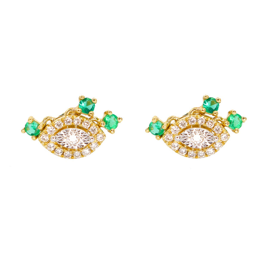 Emerald Shaker Evil Eye Earring - 18KT Gold - Monisha Melwani Jewelry