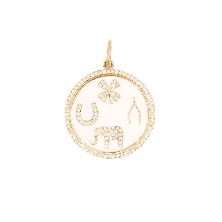 Gold Pink Enamel Good Luck Pendant - 14KT Gold - Monisha Melwani Jewelry