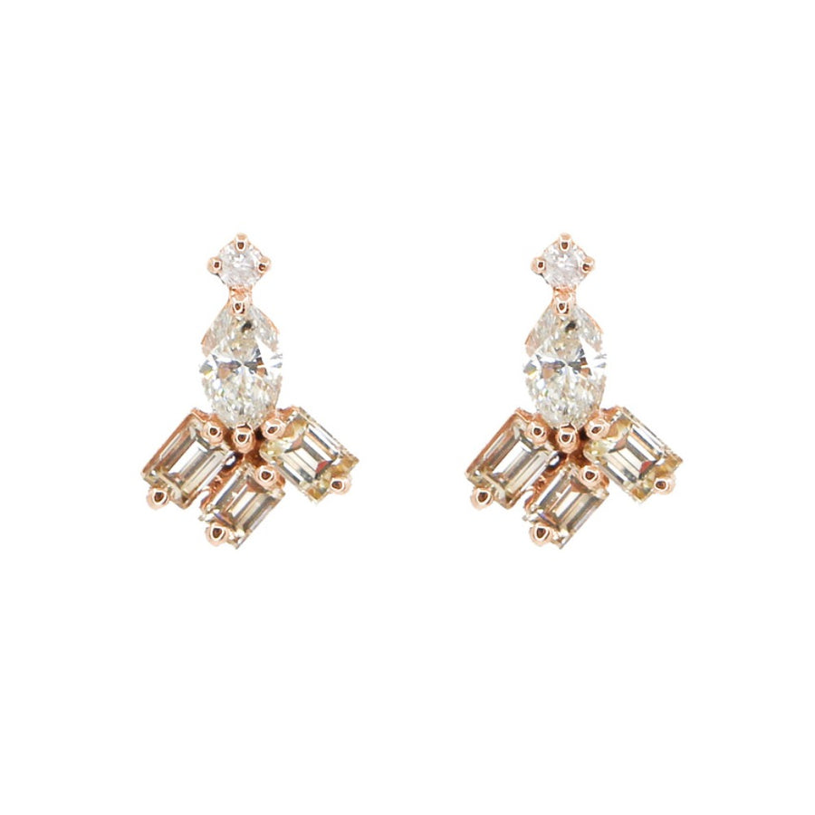 14KT Rose Gold Diamond Baguette Cluster Earrings- Monisha Melwani Jewelry