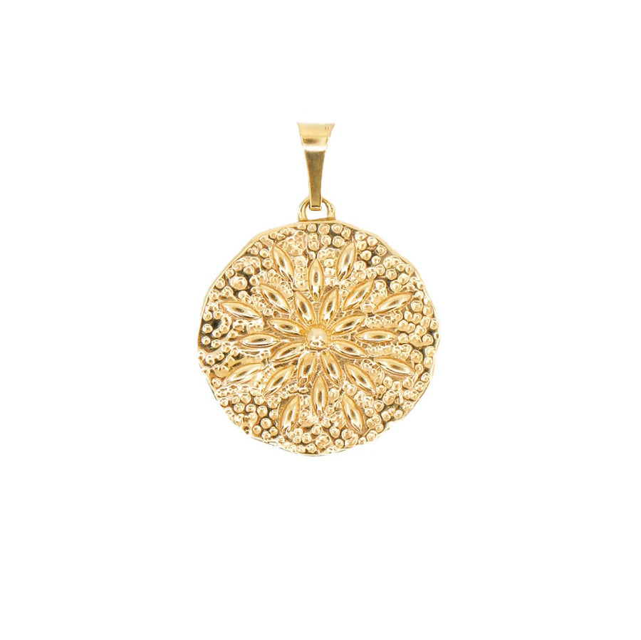 14KT Yellow Gold Sand Dollar Pendant- Monisha Melwani Jewelry