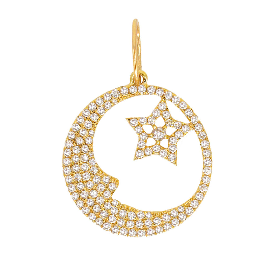 Gold Diamond Moon and Star Pendant