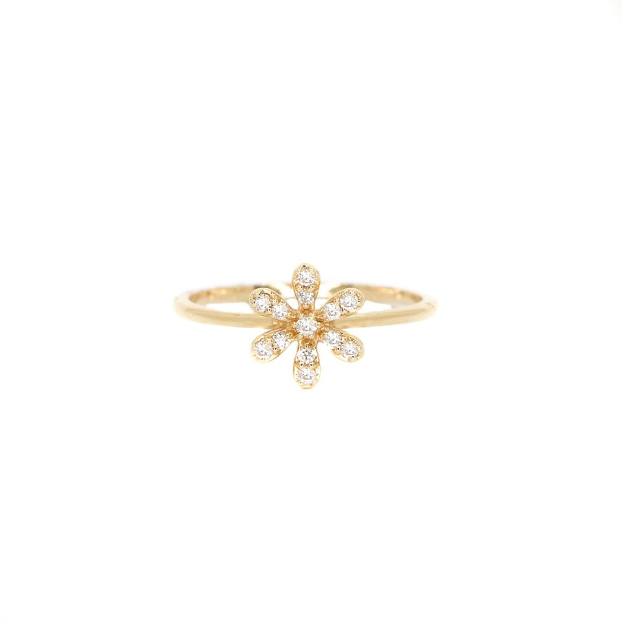 14KT Yellow Gold Diamond Flower Ring- Monisha Melwani Jewelry