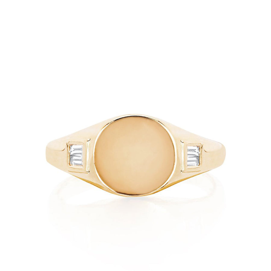 Diamond Baguette Signet Pinky Ring - EF Collection - Monisha Melwani Jewelry