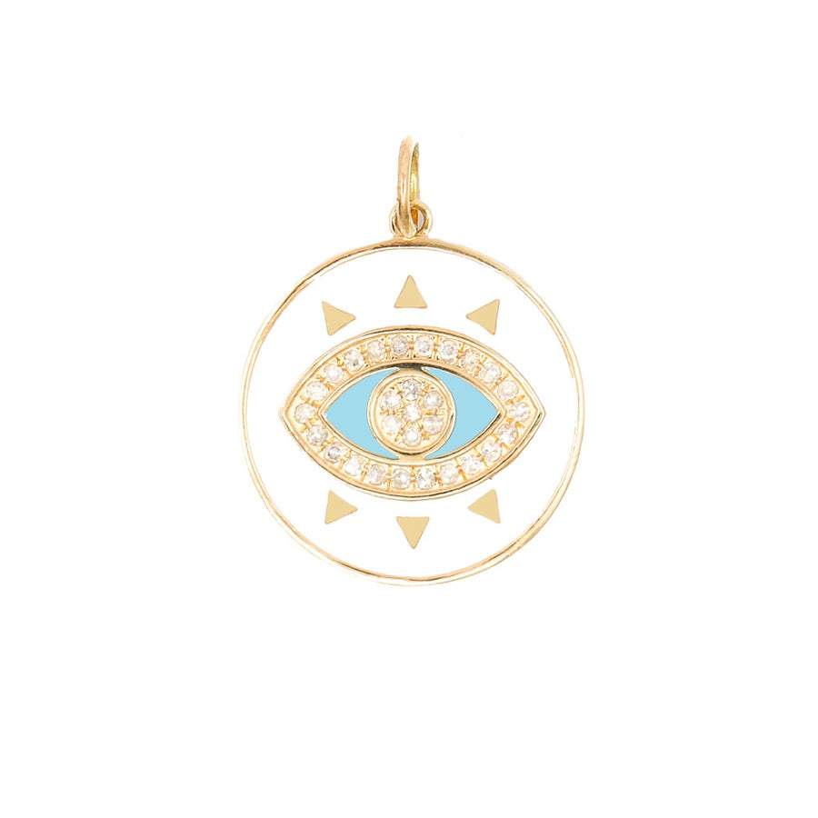 Gold Mini White Enamel Evil Eye Pendant - 14KT Gold - Monisha Melwani Jewelry