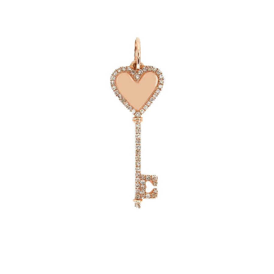 14KT Rose Gold Diamond Heart Key Pendant- Monisha Melwani Jewelry