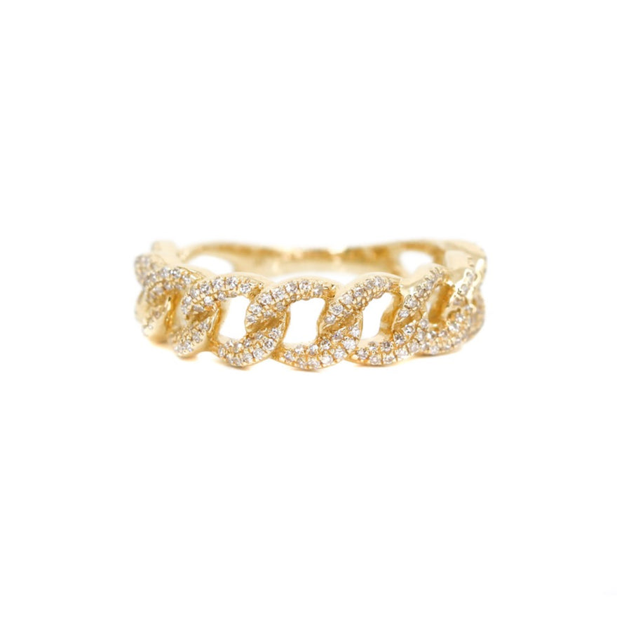 Gold Cuban Link Diamond Ring - 14KT Gold - Monisha Melwani Jewelry