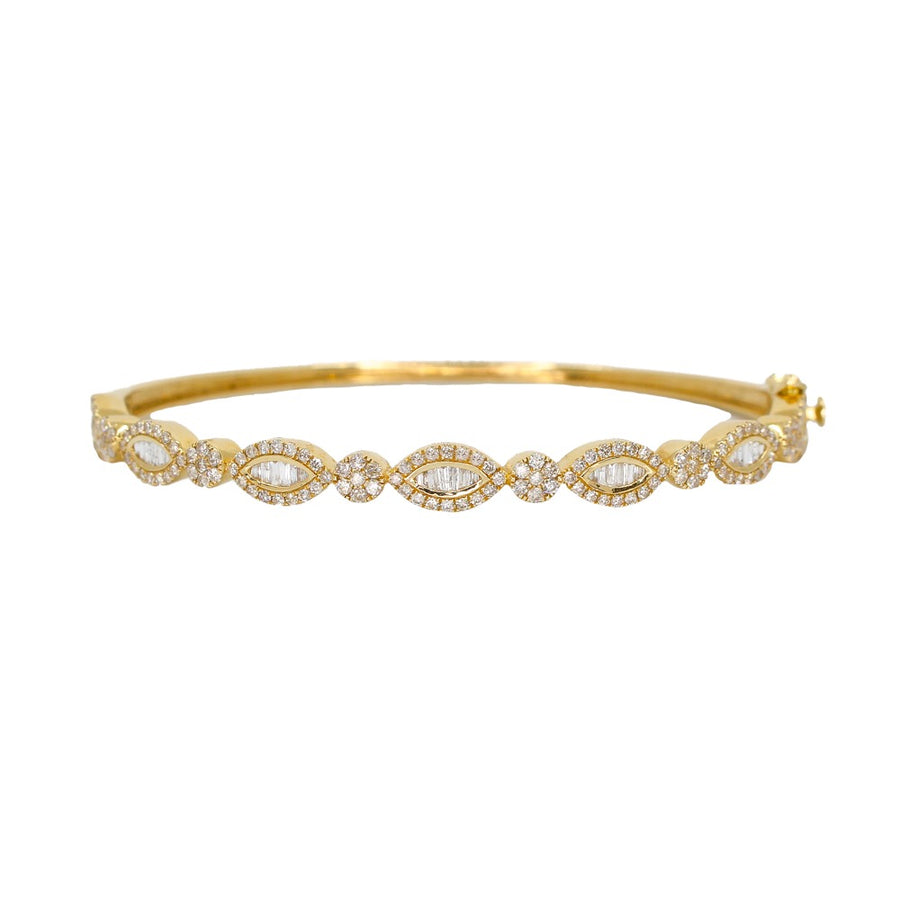 Gold Marquise Shaped Pave Baguette Bangle - 14KT Gold - Monisha Melwani Jewelry