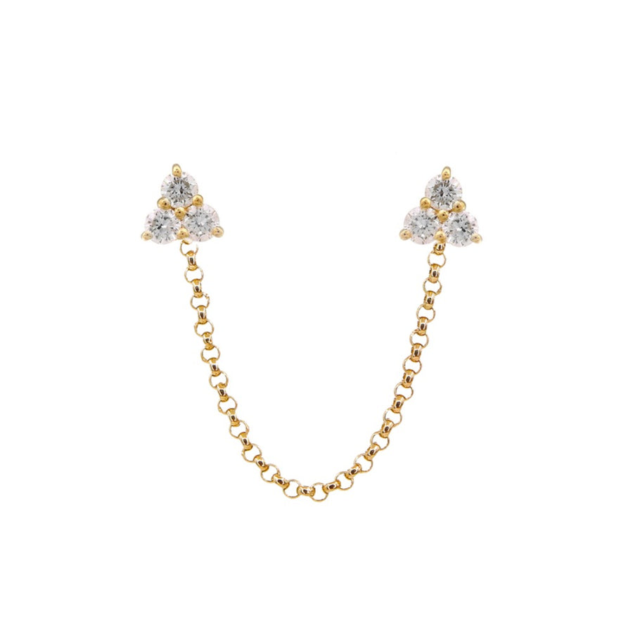 Gold Trio Diamond Chain Earrings - 14KT Gold - Monisha Melwani Jewelry