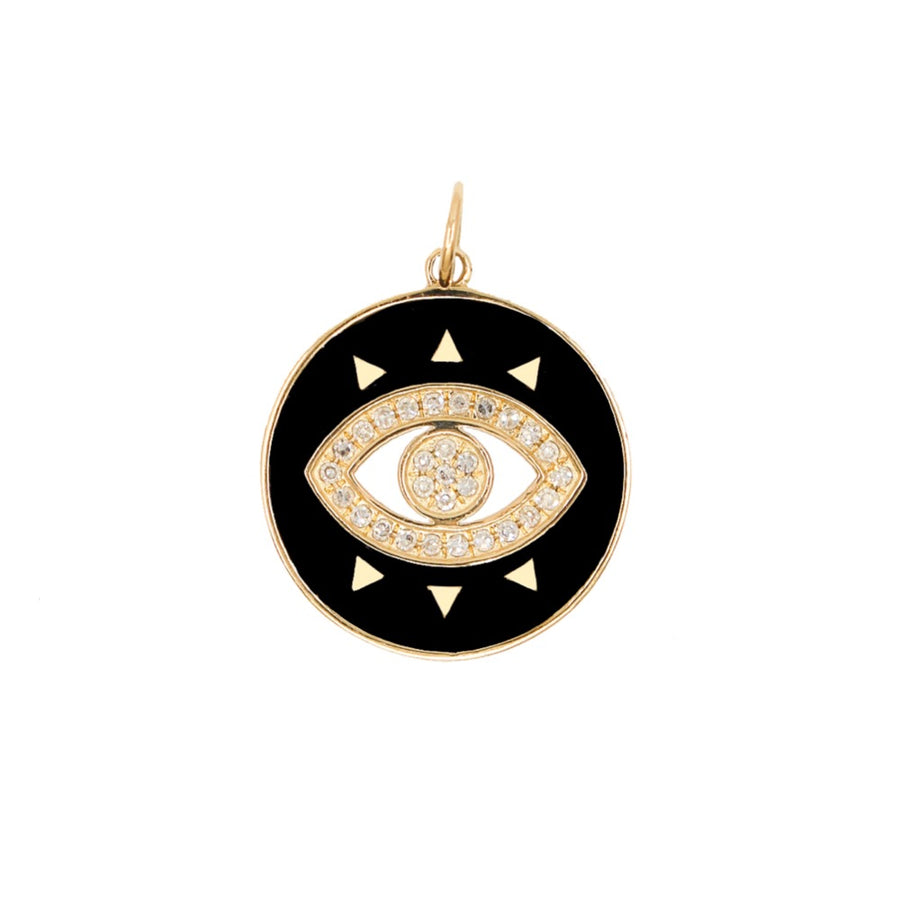 Gold Black Enamel Evil Eye Pendant - 14KT Gold - Monisha Melwani Jewelry